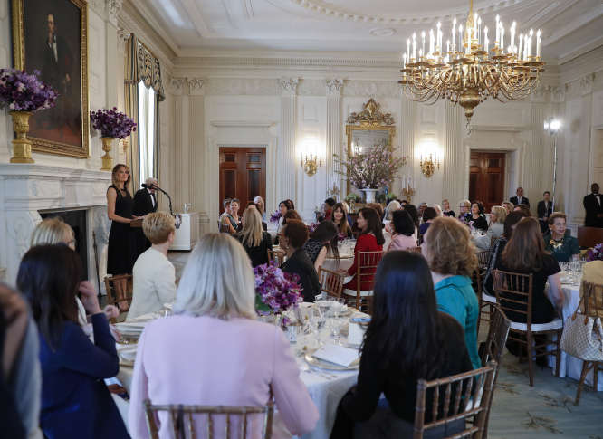 senate dining room. First lady Melania Trump arrives in the State Dining room of White  House Washington Wednesday March 8 2017 where she hosted a luncheon on begins to embrace new role as first WTOP