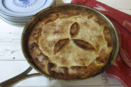 This Sept. 11, 2017 photo shows a skillet apple cranberry pie in New York. This dish is from a recipe by Sara Moulton. (Sara Moulton via AP)