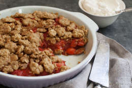 This June 2, 2014 photo shows strawberry streusel pie in Concord, N.H. (AP Photo/Matthew Mead)