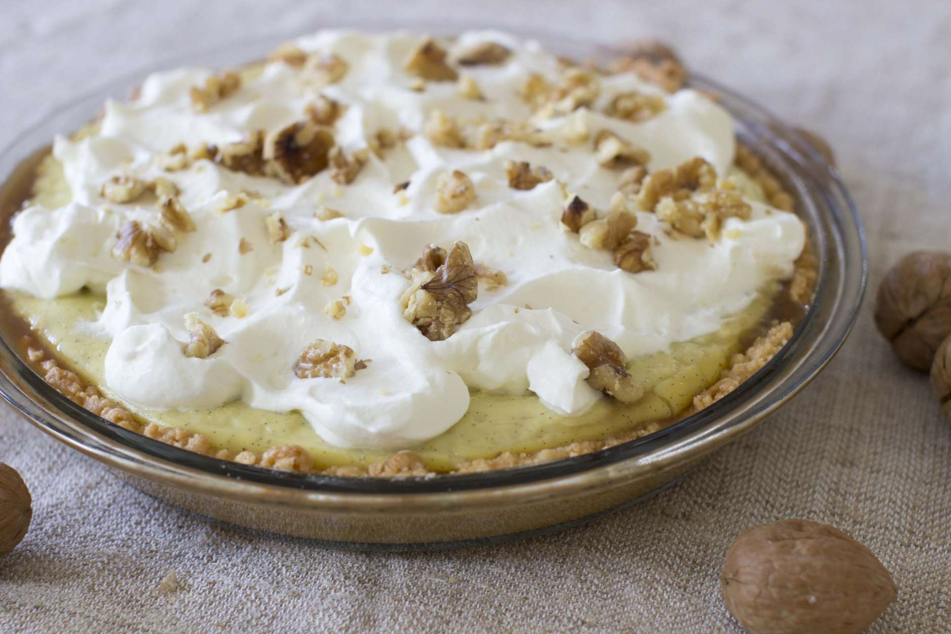 This Oct. 27, 2014 photo shows penuche cream pie in Concord, N.H. It is important to assemble this pie only just before serving; the penuche will soften once the custard layer is added. (AP Photo/Matthew Mead)