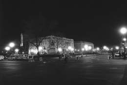 Lights burn around the District Building in Washington on Wednesday, March 9, 1977 as gunmen continue to hold hostages inside. The Washington Monument is visible behind and to the left. (AP Photo/Charles Harrity)