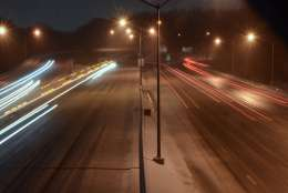 A slushy slog coats the Capital Beltway near the I-270 Spur. (WTOP/Dave Dildine)