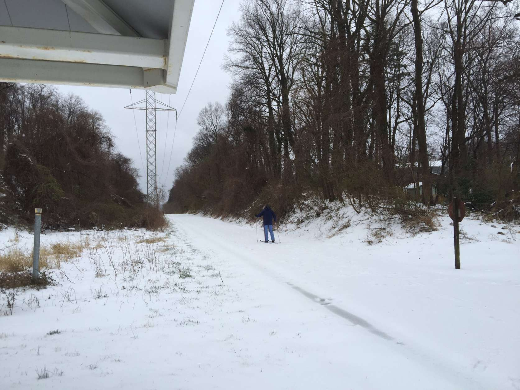 Some people still need to get around despite the snow. Here's how one gentleman is braving The Washington & Old Dominion Trail. (Courtesy Fazli Erdem via Twitter)