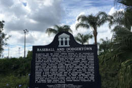 A plaque describes a brief history of the Dodgers in Vero Beach. (WTOP/Noah Frank)