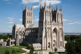 WASHINGTON - AUGUST 23: The Washington National Cathedral is seen on August 23, 2011 in Washington, DC. According to reports the church suffered minor damage to several spires. The epicenter of the 5.8 earthquake was located in near Louisa in central Virginia.  (Photo by Brendan Hoffman/Getty Images)