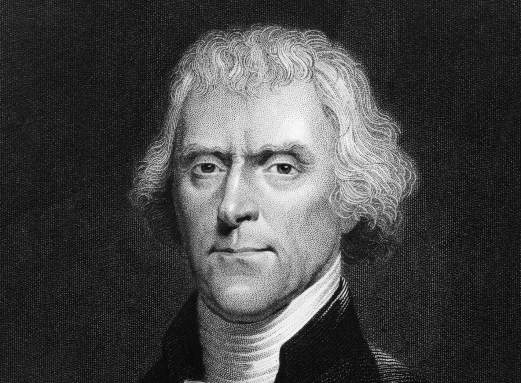 American statesman Thomas Jefferson (1743 - 1826), the 3rd President of the United States of America. Jefferson was also responsible of the writing of the Declaration of Independence. Original Artwork: Engraving after painting by Rembrandt Peale.   (Photo by Hulton Archive/Getty Images)