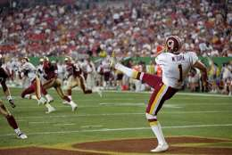 14 Sep 1998: Matt Turk #1 of the Washington Redskins punts during the game against the San Francisco 49ers at Jack Kent Stadium in Landover, Maryland. The 49ers defeated the Redskins 45-10.