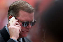 LANDOVER, MD - SEPTEMBER 20: General Manager Scot McCloughan of the Washington Redskins talks on the phone prior to the start of a game against the St. Louis Rams at FedExField on September 20, 2015 in Landover, Maryland. (Photo by Matt Hazlett/Getty Images)
