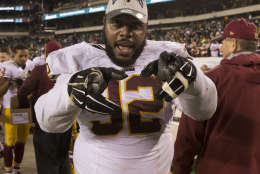 PHILADELPHIA, PA - DECEMBER 26: Chris Baker #92 of the Washington Redskins celebrates winning the NFC East division against the Philadelphia Eagles on December 26, 2015 at Lincoln Financial Field in Philadelphia, Pennsylvania. The Redskins defeated the Eagles 38-24. (Photo by Mitchell Leff/Getty Images)