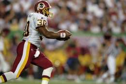 14 Sep 1998:  Fullback Brian Mitchell #30 of the Washington Redskins in action during the game against the San Francisco 49ers at the Jack Kent Cooke Stadium in Landover, Maryland. The 49ers defeated the Redskins 45-10. Mandatory Credit: Doug Pensinger  /