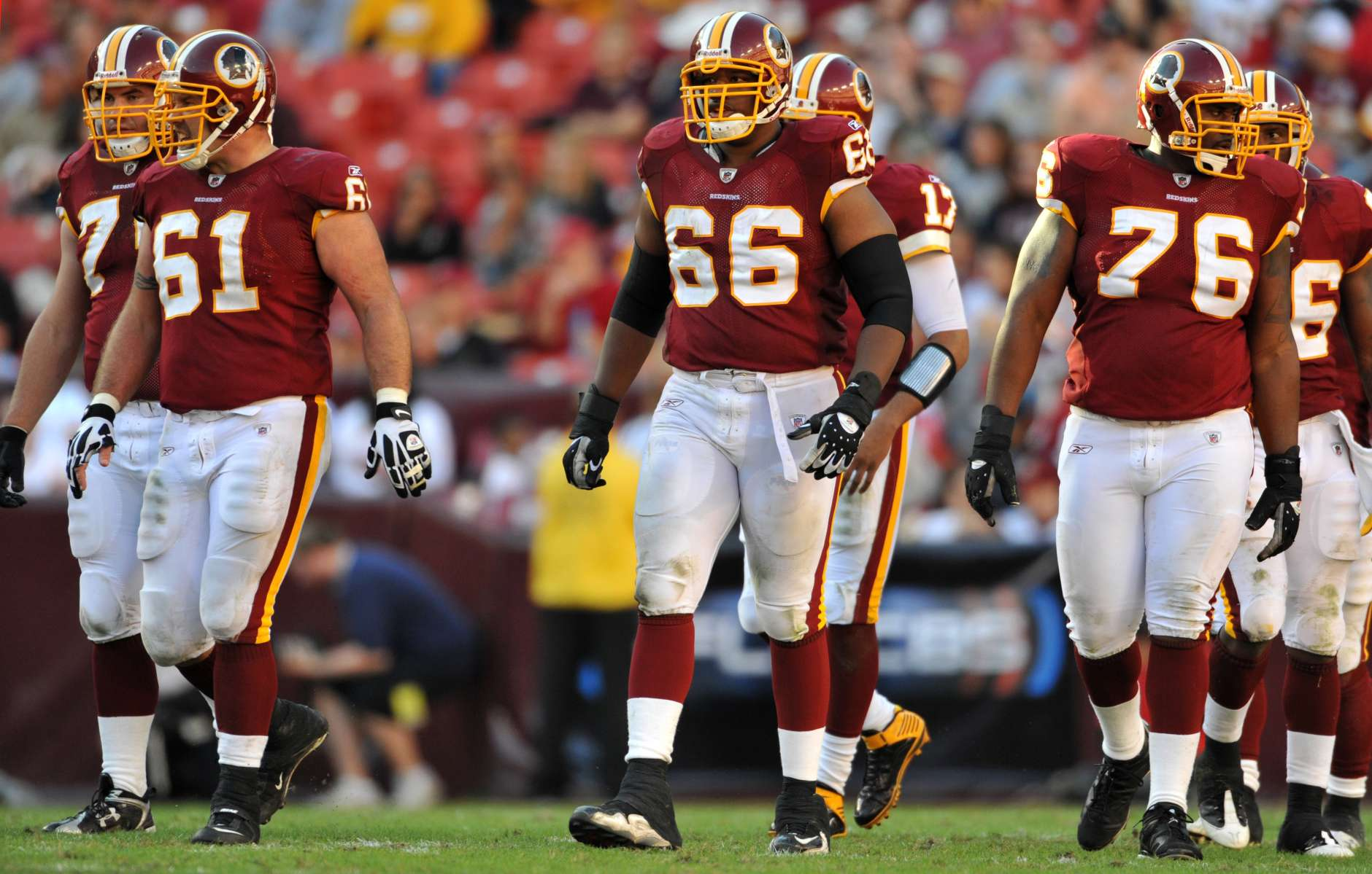 LANDOVER, MD - NOVEMBER 15:  Derrick Dockery #66 of the Washington Redskins walks up to the line of scrimmage during the game against the Denver Broncos at FedExField on November 15, 2009 in Landover, Maryland. The Redskins won 27-17. (Photo by Larry French/Getty Images)