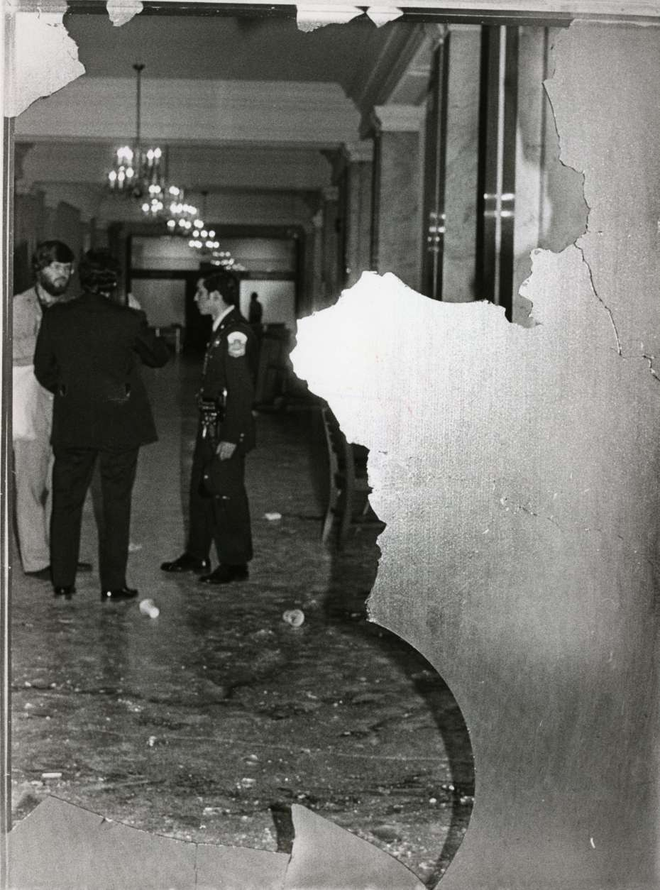This image of damage following the Hanafi Siege was shared as part of a new photo exhibit by the D.C. Council. (Courtesy D.C. Council)