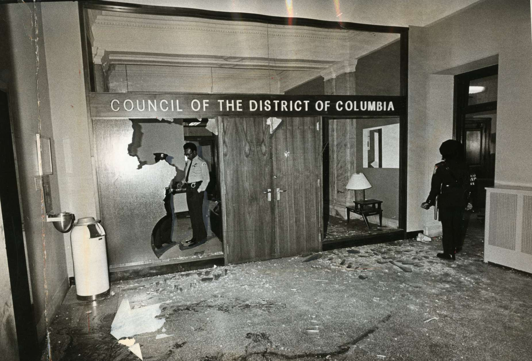 Aftermath of the Hanafi Siege, seen in an image shared as part of the D.C. Council's new photo exhibit in commemoration of the 40th anniversary of the siege. (Courtesy D.C. Council)