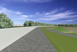 A rendering of the Huntington Levee along Cameron Run, including the future concrete I-beam wall. (Fairfax County Department of Public Works and Environmental Services)