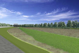 A rendering of the Huntington Levee and the floodplain along Cameron Run. (Fairfax County Department of Public Works and Environmental Services)