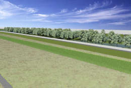 A rendering of the Huntington Levee along Cameron Run. (Fairfax County Department of Public Works and Environmental Services)