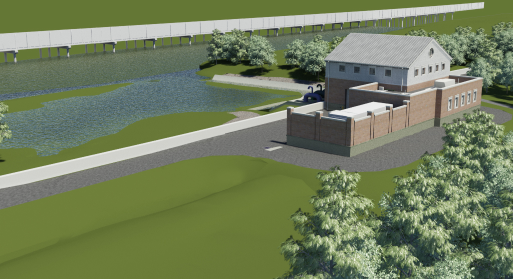 A rendering of the Huntington Levee, including a view of the pumping station that will put flood water back into Cameron Run. (Fairfax County Department of Public Works and Environmental Services)
