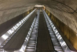 The view from the bottom of the new escalator at Bethesda. (WTOP/Dick Uliano)
