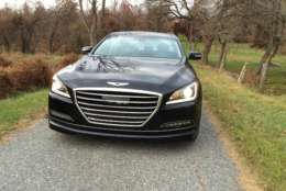 The front end of the Genesis G80 has that large grill like most of the competition, and there are slick LED headlights.(WTOP/Mike Parris)