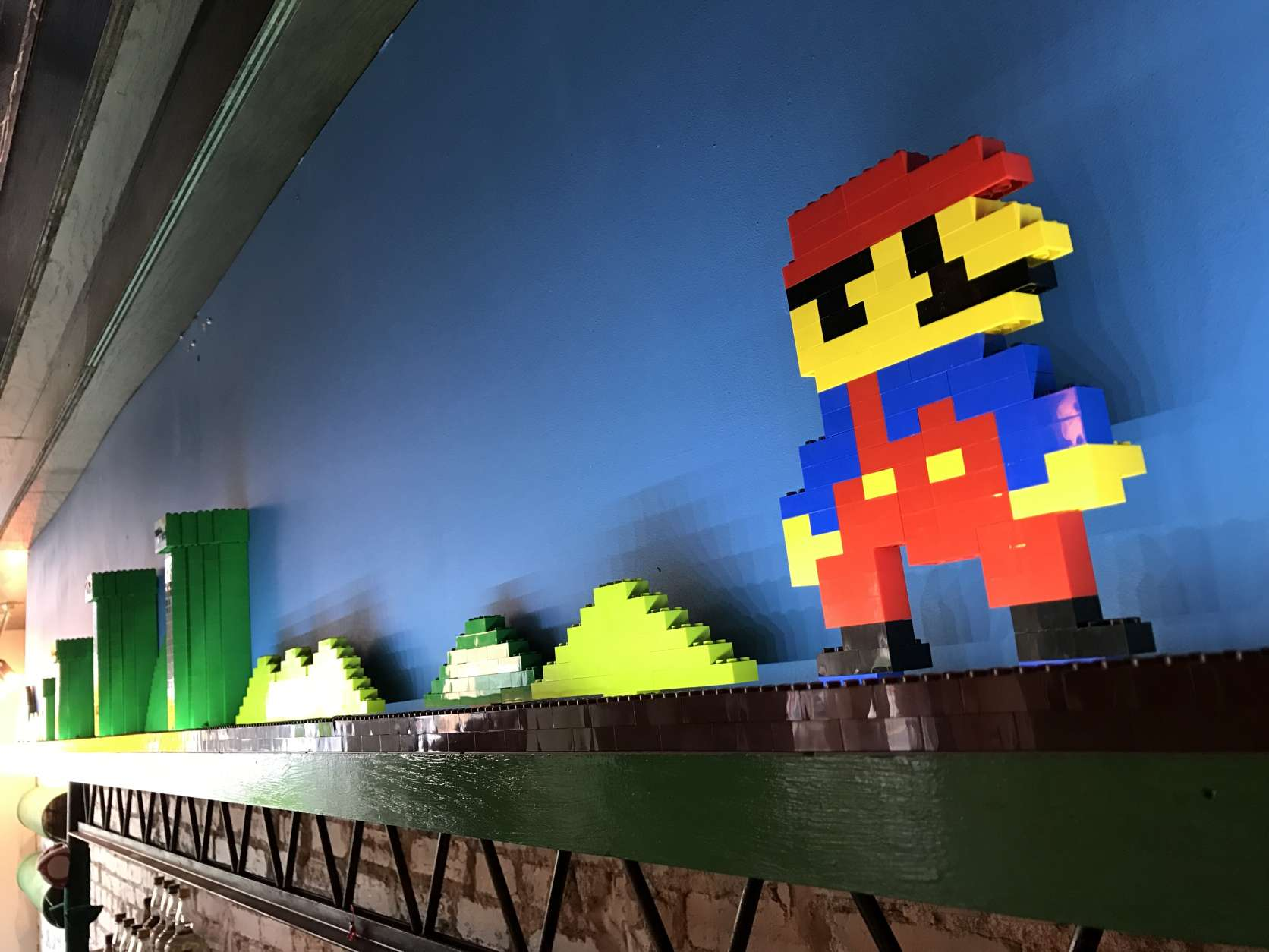 Behind the Mario bar, staff created a Lego installation, further reminding visitors of their childhood. (WTOP/Megan Cloherty)