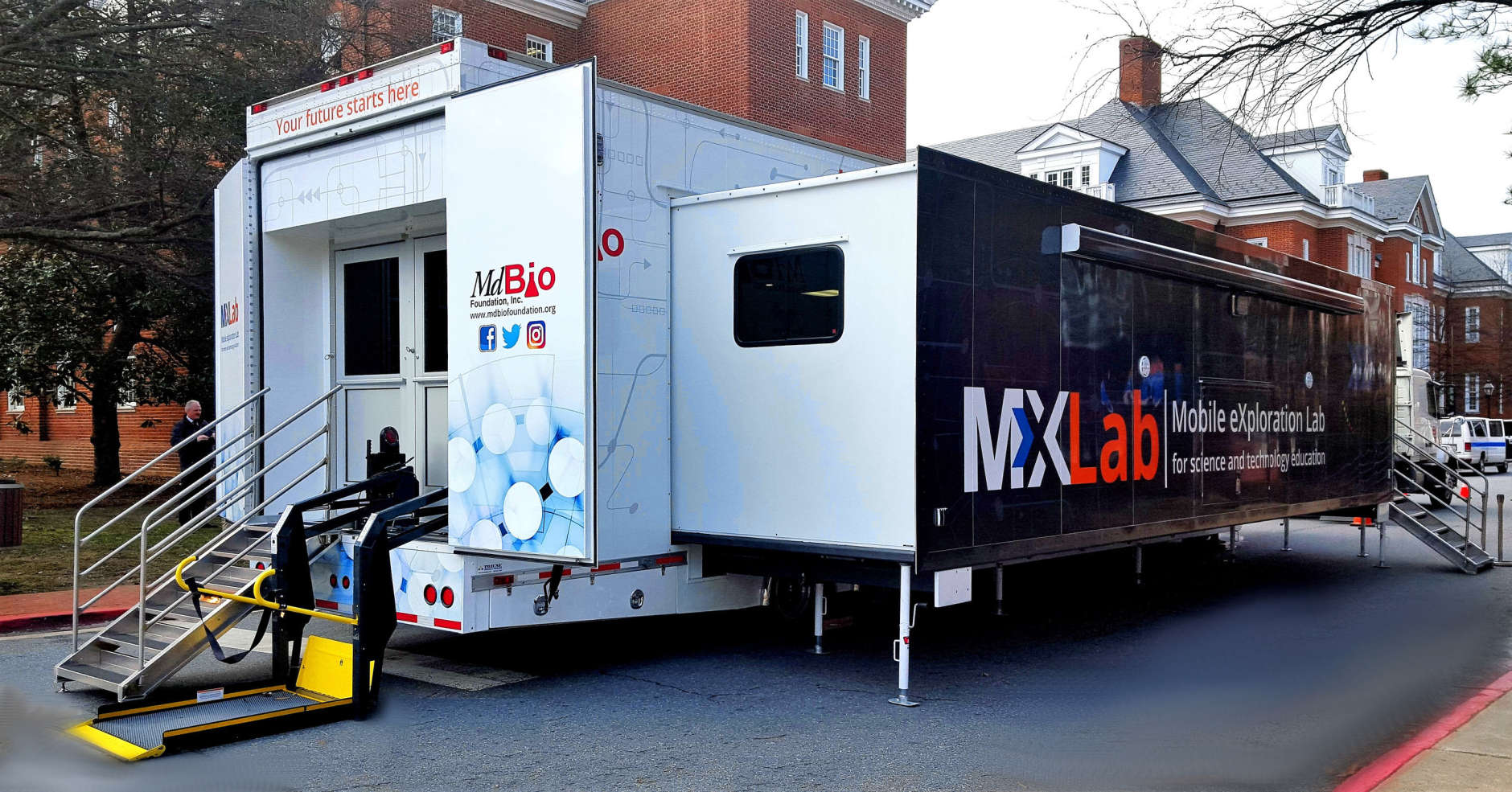 The trailer is the country's largest and most advanced mobile science laboratory, MdBio said.(Courtesy MdBio Foundation)