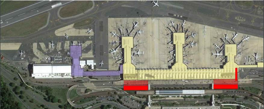 In this 2015 image of the general proposed layout of the new security areas, the red marks indicate newly constructed security checkpoint areas or pathways while the purple outlines the location of the new commuter jet terminal. (Courtesy MWAA)
