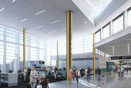 A rendering of the interior of the planned new terminal at Reagan National Airport. (Courtesy MWAA)