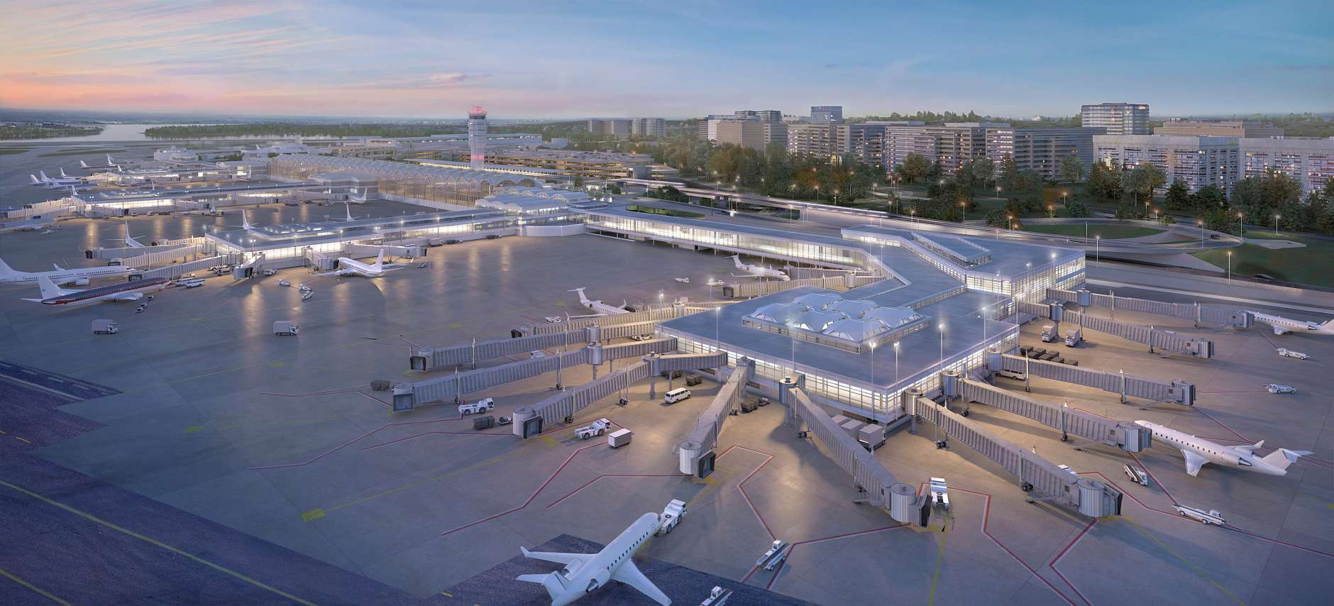 A rendering of the exterior of the planned new terminal at Reagan National Airport. (Courtesy MWAA)