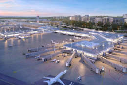 This handout image shows an artists rendering of a planned commuter terminal at Reagan National Airport. The terminal is being called the North Concourse. Demolition of two hangers and the airports authority's office building could begin this spring to make room for the terminal, slated to open in 2021. (Courtesy Metropolitan Washington Airports Authority)