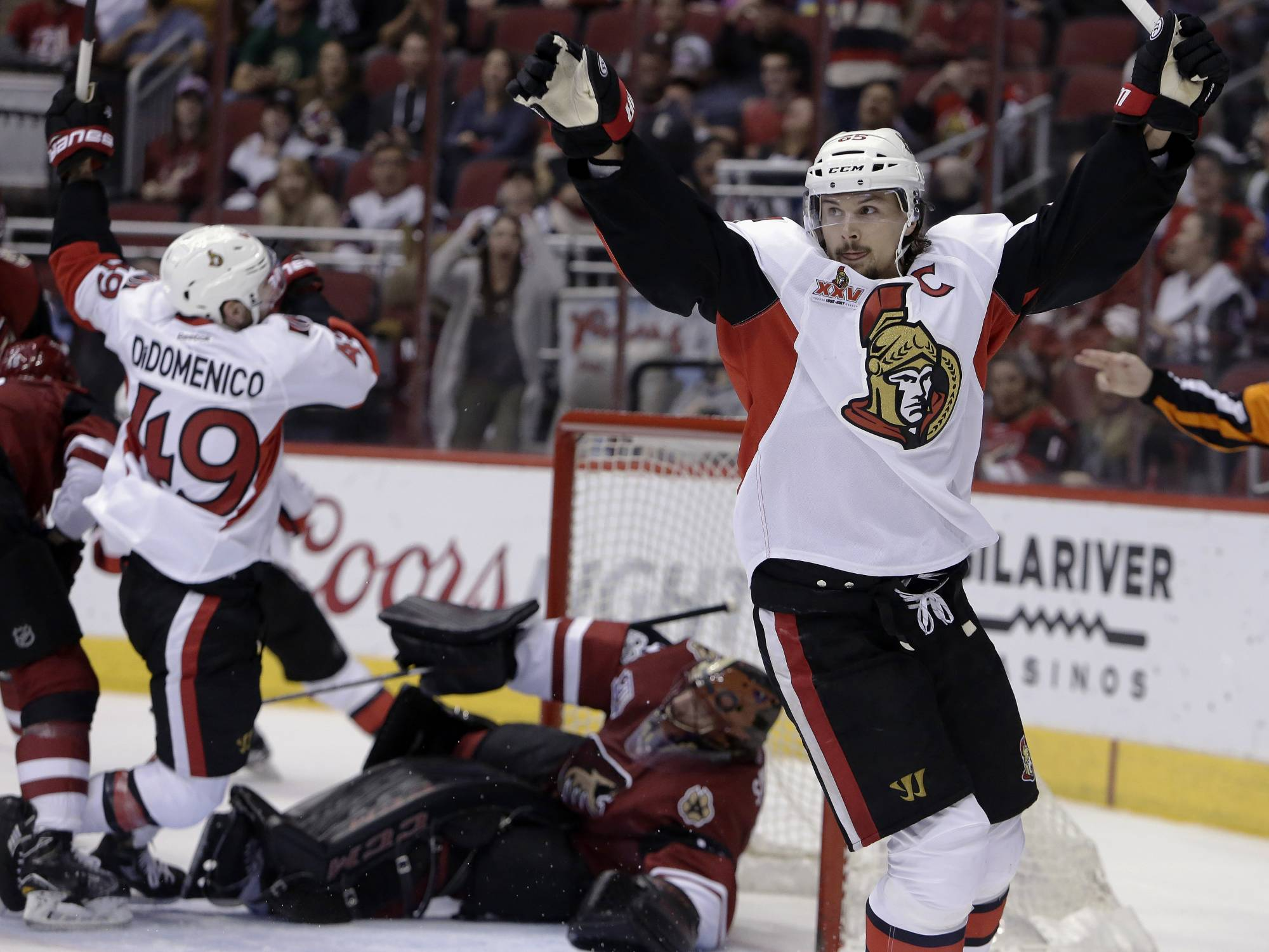 (AP) — Erik Karlsson scored twice, including 40 seconds into overtime, and  the Ottawa Senators edged the Arizona Coyotes 3-2 on Thursday night for  their ...