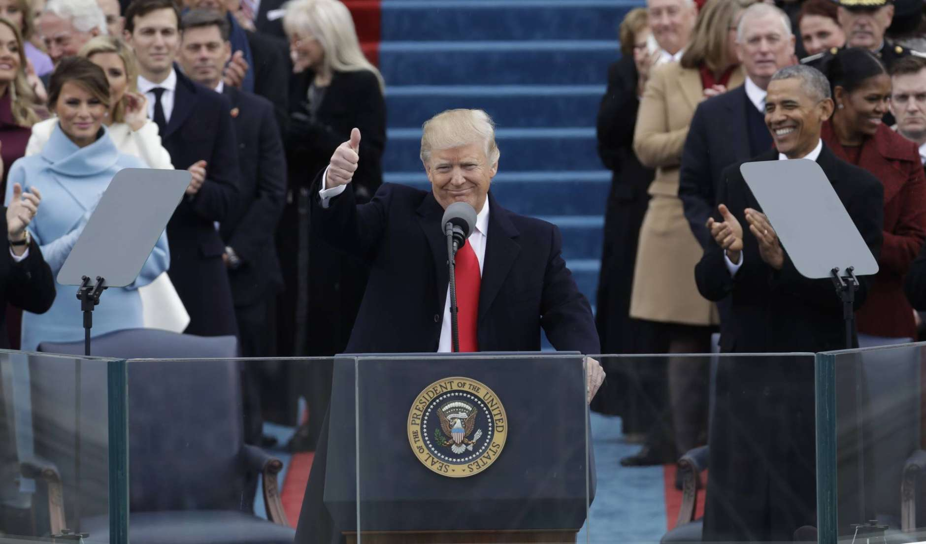 FILE - In this Jan. 20, 2017 file photo, President Donald Trump gives a thumbs after being sworn in as the 45th president of the U.S. during the 58th Presidential Inauguration on Capitol Hill in Washington. Trump has demonstrated more than once that he can project a more disciplined and presidential style when he wants, only to quickly slip back to his old ways. (AP Photo/Patrick Semansky, File)