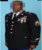 The suspect stole a U.S. Army dress uniform similar to this one, as well as other uniform items including dress shoes. (Courtesy Prince George's County Police Department)