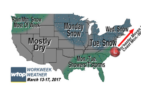 Workweek weather: Nor'easter brings wintry mix, needed moisture