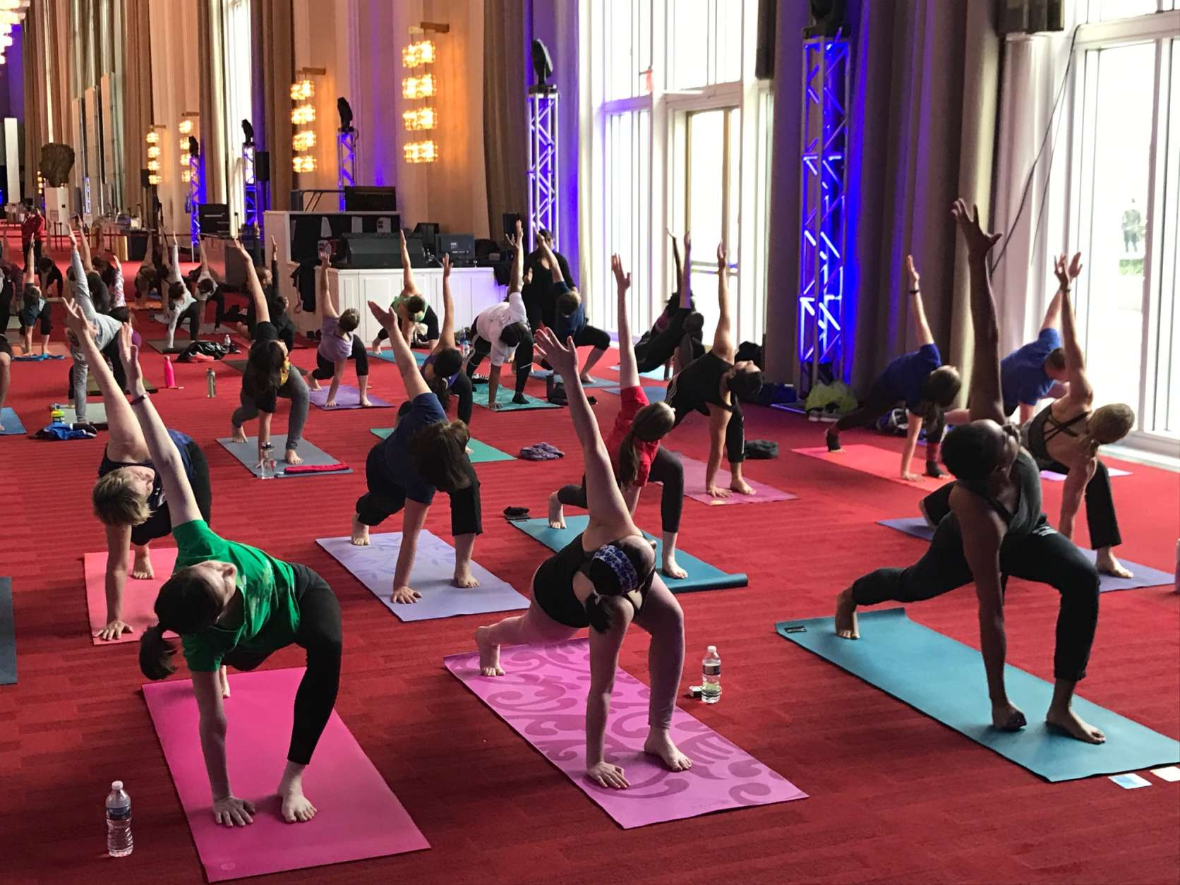 The Kennedy Center is hosting free yoga classes through Aug. 19 every other Saturday in the iconic Grand Foyer. (WTOP/Rachel Nania)