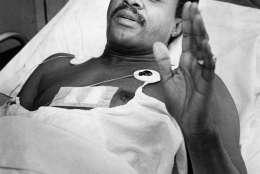 Then-Council member Marion Barry recovering after being hit by a stray shotgun pellet during the Hanfi Siege in D.C. (Courtesy D.C. Council)