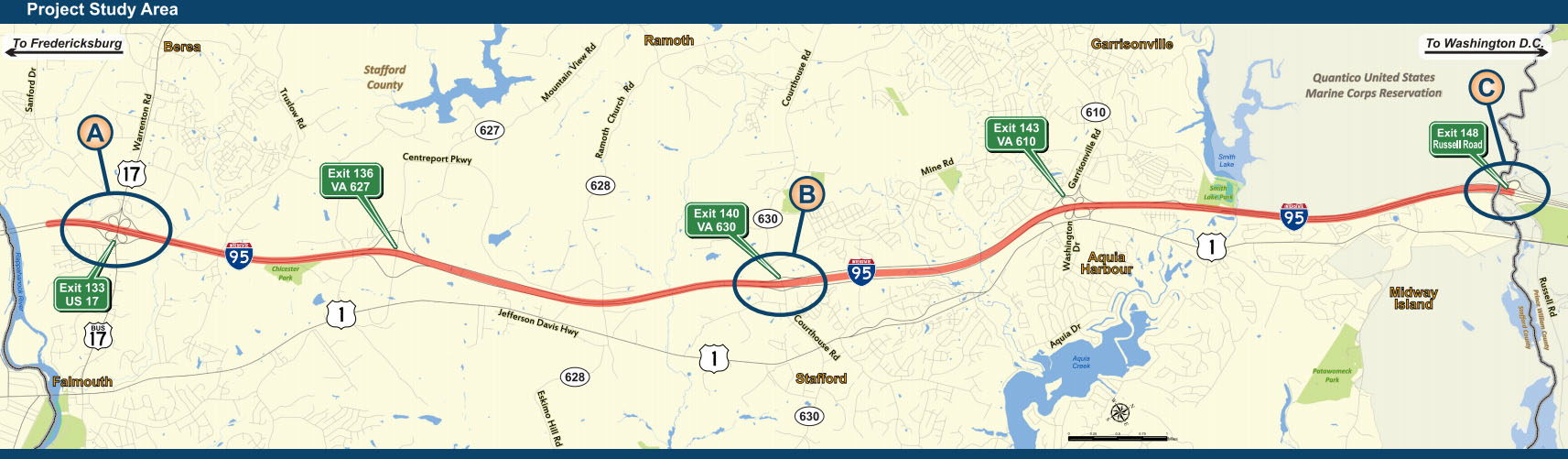 The plan would extend the 95 Express Lanes 10 miles south toward Fredericksburg and add a new exit from the lanes near Quantico over the next five years. (Courtesy VDOT)