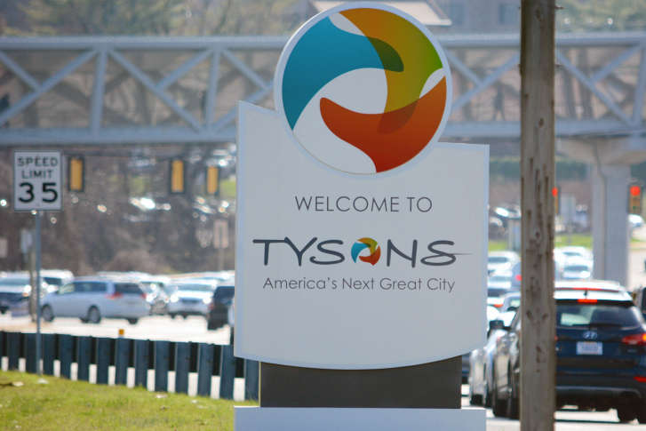 A new monument sign welcomes visitors to Tysons Corner in McLean, Virginia.  (WTOP/Dave Dildine)
