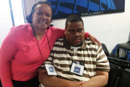 Rometa Alston and her son Tedric Alston, who wants to become a pilot. (WTOP/Kathy Stewart)