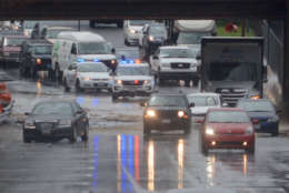 Flooding on DC-295 North near Benning Road blocked traffic Thursday, April 6. (WTOP/Dave Dildine)