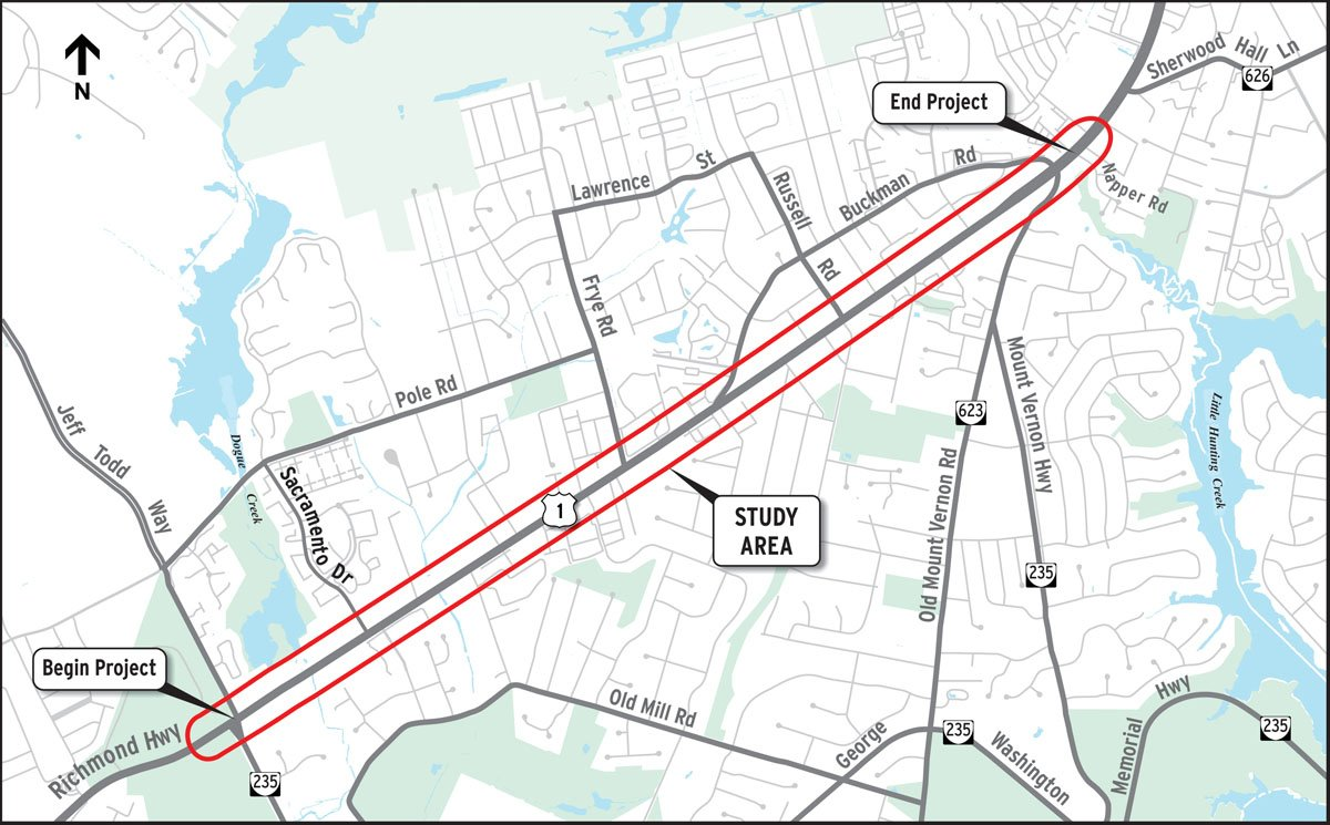 More than 200 businesses and residences in the path of the planned widening of Route 1 in Fairfax County, which includes a bus-only rapid transit line.  (Courtesy VDOT)