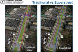 A proposed rendering detailing the superstreet concept. (Courtesy Virginia DOT)