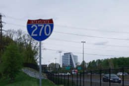 The project to widen Interstate 270 near the Montrose Road interchange will add 23 new lane miles of roads, and could shave up to 30 minutes from some drivers' morning commutes, Maryland Gov. Larry Hogan says. (WTOP/Kate Ryan)