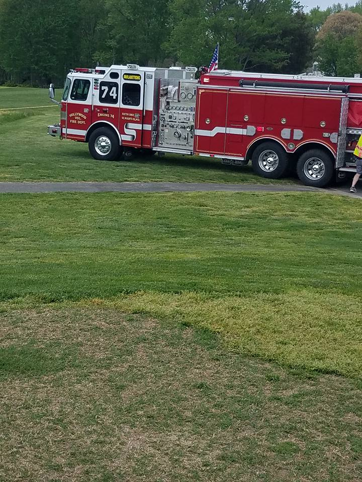 St. Mary's County fire crews at the scene of a downed Black Hawk helicopter in at a Leonardtown golf course Monday, April 17, 2017. (Courtesy St. Mary's County Sheriff's Office)