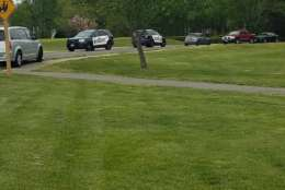 Officials at a Leonardtown golf course where a Black Hawk helicopter had a hard landing Monday,  April 17, 2017. (Courtesy St. Mary's County Sheriff's Office)