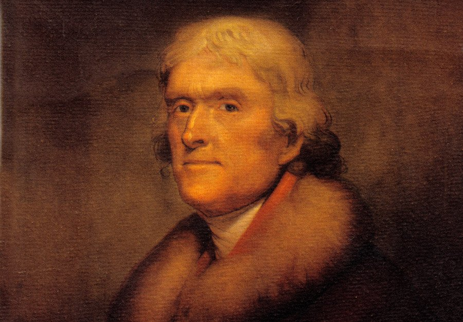 This is an undated photo of a portrait of U.S. President Thomas Jefferson by artist Rembrandt Peale.  (AP Photo)