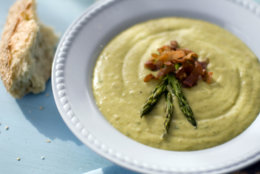 This Feb. 16, 2011 photo shows roasted asparagus and potato soup in Concord, N.H. For this soup recipe, all the vegetables are roasted at high heat, caramelizing their natural sugars and enhancing the flavors. They are then pureed until smooth and combined with thick, nonfat Greek-style yogurt, which gives the soup a creamy quality that belies its low-fat nutritional profile.    (AP Photo/Matthew Mead)