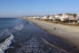 IMAGE DISTRIBUTED FOR VISIT MYRTLE BEACH - Myrtle Beach, South Carolina, is best known for its 60 miles of gorgeous coastline with white, sandy beaches and welcoming ocean waters. According to a report from the South Carolina Department of Health and Environmental Control, released on March 18, the entirety of the area's ocean waters – from North Myrtle Beach to Garden City Beach – are clean and safe for the entire family to enjoy, just as they have been for years. For more information on the area and to plan your trip visit www.VisitMyrtleBeach.com. (Willis Glassgow/AP Images for Visit Myrtle Beach)