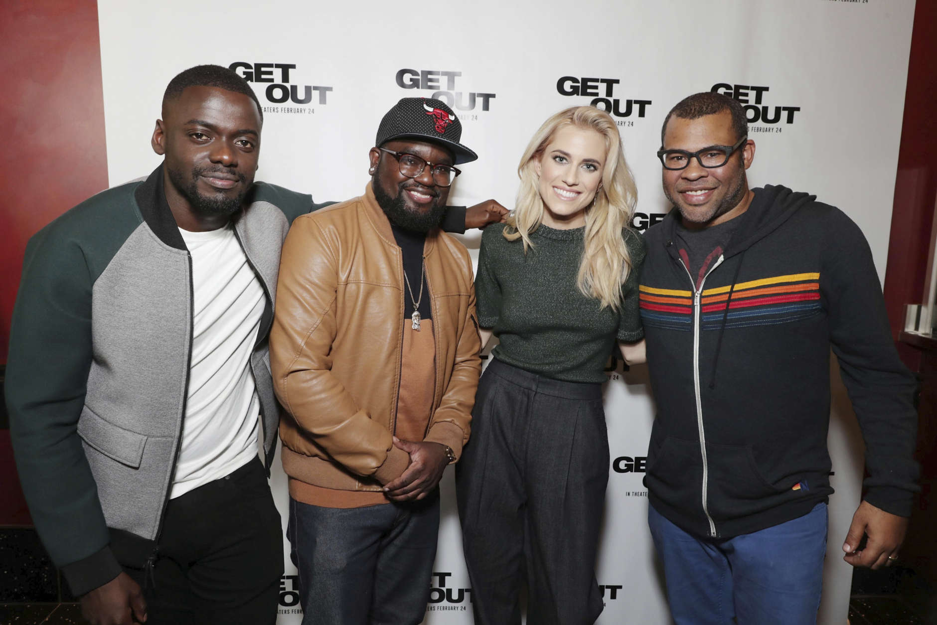 Exclusive - Daniel Kaluuya, Lil Rel Howery, Allison Williams and Writer/Director Jordan Peele seen at 'GET OUT' LA Tastemaker Screening hosted by Chance the Rapper at Arclight Hollywood on Wednesday, February 09, 2017, in Los Angeles, CA. (Photo by Eric Charbonneau/Invision for Universal Pictures/AP Images)