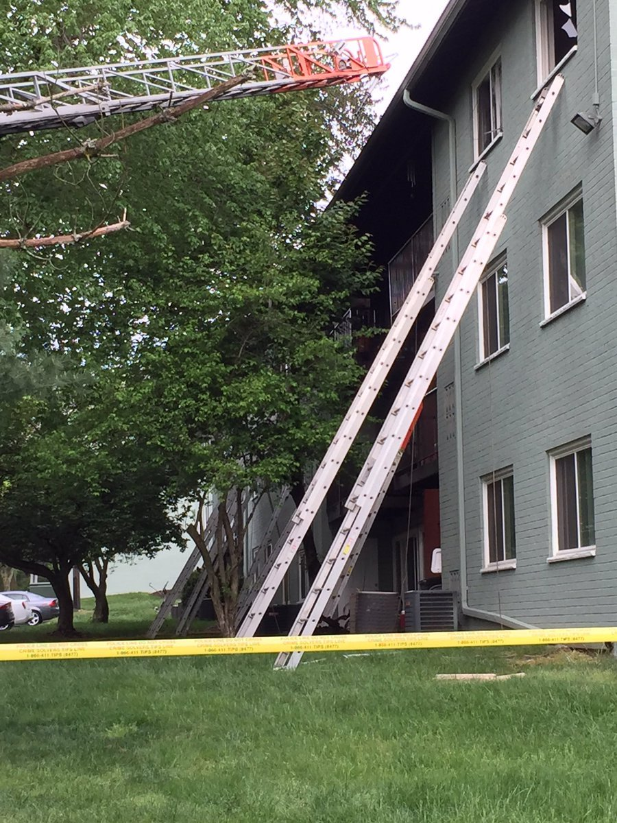 Some residents jumped from the balconies to escape the fire, the fire department said. (Courtesy Mark Brady)