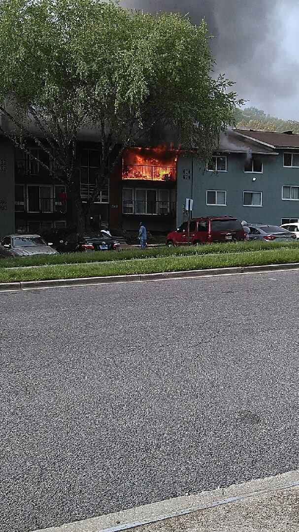 At least one person was trapped in an apartment building in Fort Washington after a fire broke out Sunday morning, Prince George's County Fire officials said. (Courtesy Mark Brady)